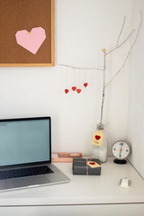 Office desk with Valentine gift