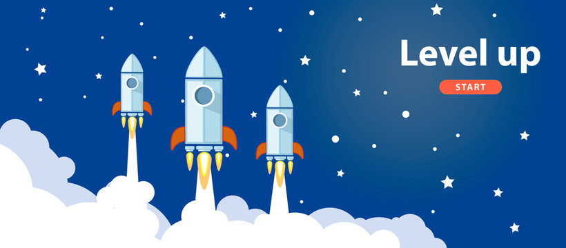 Level up illustration or banner with rockets in space. Vector