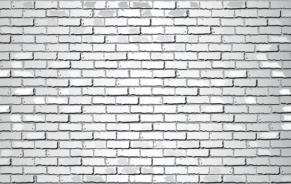 Shiny White Brick Wall - Illustration,  Abstract vector background