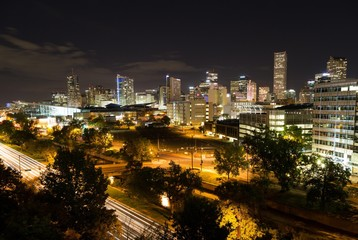 Skyline, Downtown Denver at night, Denver, Colorado, USA, North America