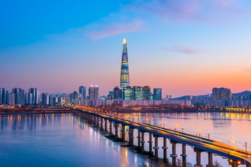 Stores photo Seoul Twilight sky at han river in seoul city south Korea