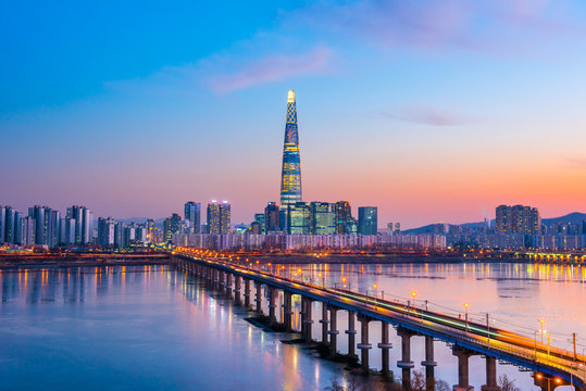 Twilight sky at han river in seoul city south Korea