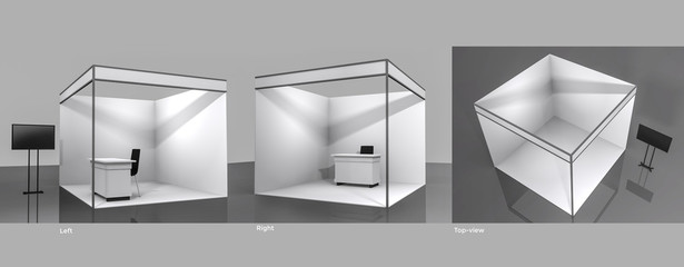 White and Blank Booth.,3d render isolated on white background. High Resolution Ad Template for your Expo design.