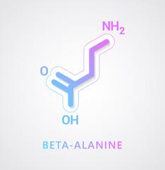 Beta-alanine molecule - Skeletal formula on white background