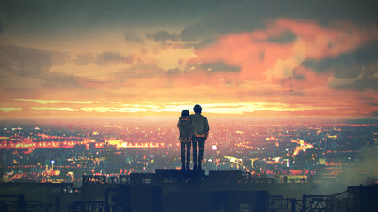 young couple standing on the roof top looking at cityscape at sunset, digital art style, illustration painting