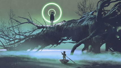 Foto op Aluminium Grandfailure dark-fantasy scene of the boy on a boat looking at the mysterious man with one eye on a fallen tree in river at night, digital art style, illustration painting