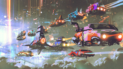 Fotobehang Grandfailure flying car traffic in the futuristic world, digital art style, illustration painting