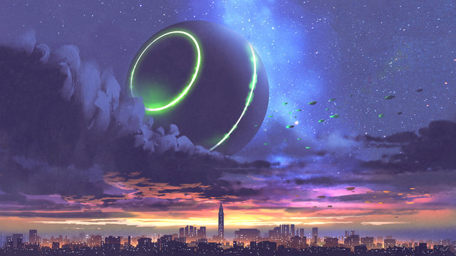 unidentified flying object coming out of black clouds above the city with skyscrapers, digital art style, illustration painting