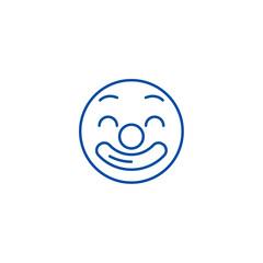 Circus emoji line concept icon. Circus emoji flat  vector website sign, outline symbol, illustration.