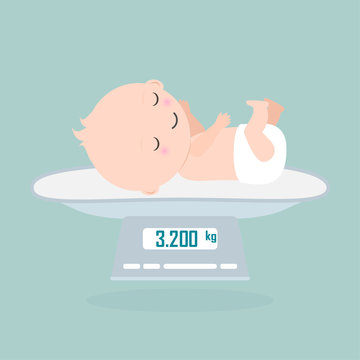 Weight scale for infant icon, Digital scales measure weight in kilogram