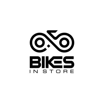 initial letter B I S with bike chain logo design template