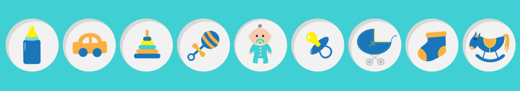Baby boy shower card with bottle, horse, rattle, pacifier, sock, car toy, baby carriage, pyramid. Its a boy. Round icon set line. Blue background. Flat design