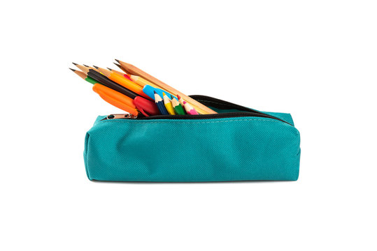Colorful pencil and pens in a case isolated on white