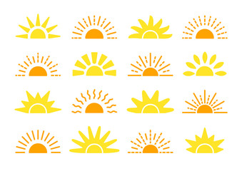 Sunrise & sunset symbol collection. Flat vector icons. Morning sunlight signs. Isolated objects. Yellow sun rise over horison Wall mural