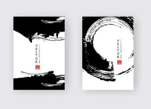 Banners with abstract black ink. eps10 vector illustration