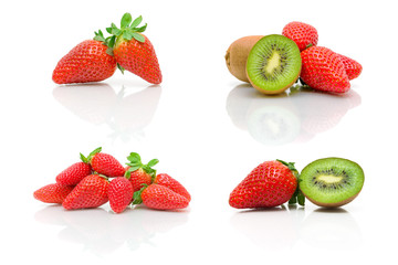 ripe strawberry and kiwi on a white background