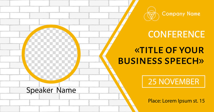 Vector banner template for business meeting. Conference flyer with place for photo of speaker