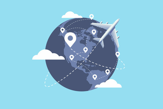Plane flying around the world. Travel planning. travel concept.