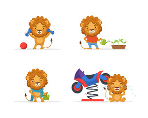 Cute Lion Character in Different Situations, Funny African Animal Cartoon Character Vector Illustration