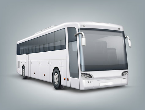 Vector realistic illustration. One passenger bus in perspective view, isolated on background