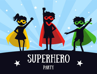 Superhero Party Banner, Cute Kids in Superhero Costumes and Masks, Birthday Invitation, Landing Page Template Vector Illustration