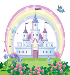 A fairy-tale castle for a Princess. Beautiful flower meadow and rainbow. Wonderland. Children cartoon illustration. Vector.