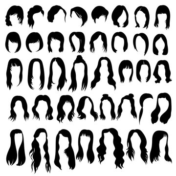 Set of hairstyles and haircuts templates on white background