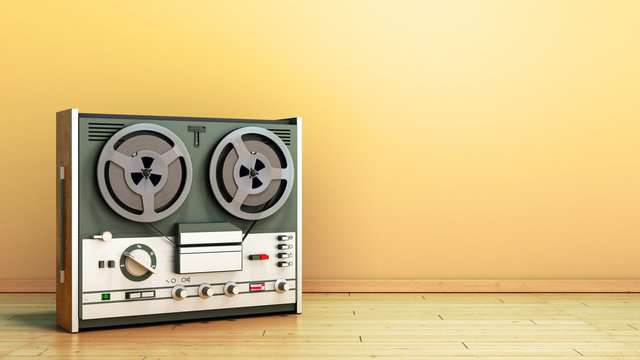 Old portable reel to reel tube tape recorder on the flor in room 3d render image