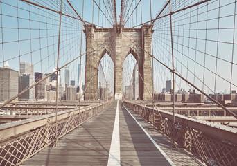 Retro toned picture of the Brooklyn Bridge, New York, USA.