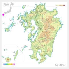九州地方の地図・Kyushu(等高線・色分け)
