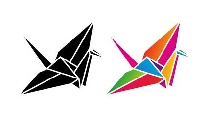 Żuraw origami low poly. Logo wektor