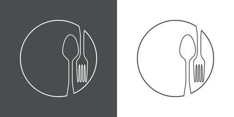 Icono plano lineal cubiertos en círculo en gris y blanco Fotobehang