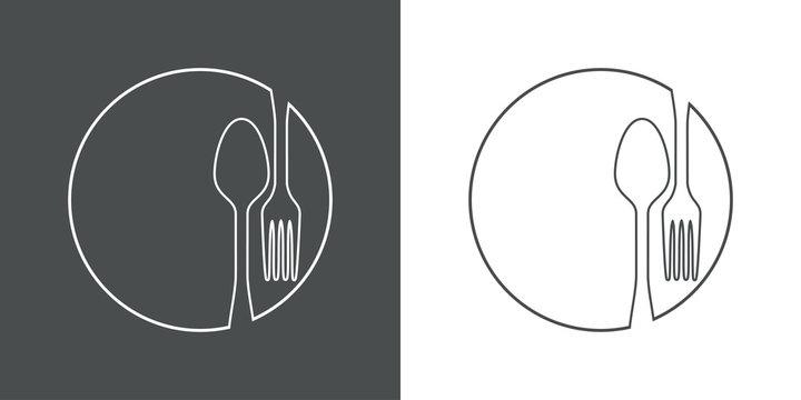 Icono plano lineal cubiertos en círculo en gris y blanco