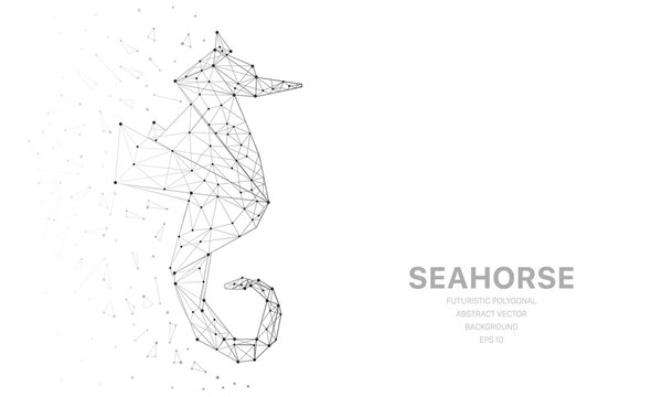 Polygonal wireframe mesh futuristic with seahorse, sign on white background. Vector lines, dots and triangle shapes, connecting network, digital molecules technology, connection structure.