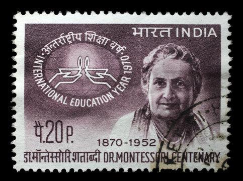 Stamp printed in India, shows Birth Centenary of Maria Montessori, circa 1970.