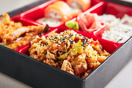 Fresh Food Portion in Japanese Bento Box