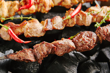 Hot Grilled Lamb Kebab or Barbecue Shashlik on Charcoal Background with Herbs and Spices Closup