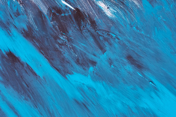 Blue, black and white abstract background painting. Blue abstract acrylic painting on wood.