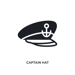 captain hat isolated icon. simple element illustration from nautical concept icons. captain hat editable logo sign symbol design on white background. can be use for web and mobile