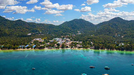 Aerial Image of Sairee Beach on Koh Tao in Thailand, Asia