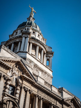 The Old Bailey, London, UK. The landmark Central Criminal Court topped by the bronze statue of Lady Justice holding a sword and the scales of justice.