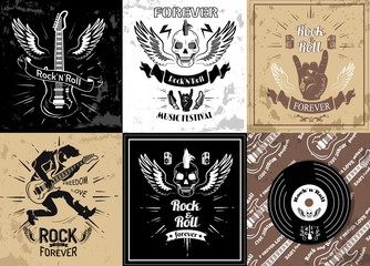 Rock and roll forever logotype sketches set vector illustration. Symbols of heavy metal music in retro style, skull and guitar, tattoo designs