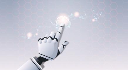 Wall Mural - robot hand touching abstract virtual user interface touchscreen artificial intelligence digital futuristic technology concept flat horizontal