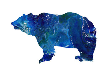 Abstract grizzly, polar bear marble silhouette. Big wild animal