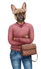 Animals dressed up in human clothing. Portrait of a Dog Girl. Hand-drawn illustration of French Bulldog, digitally colored.