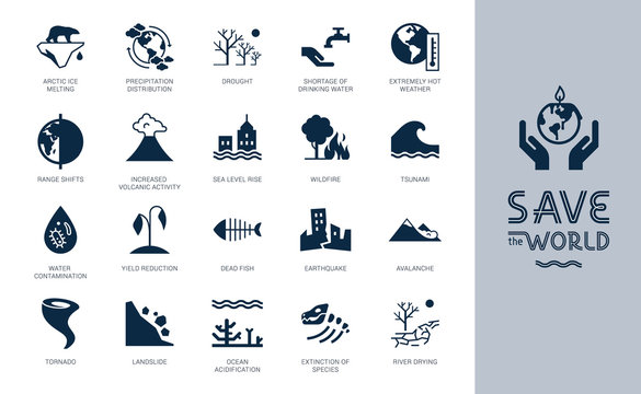 Save the World big icon set. Different variants of environmental icons on the theme of ecology in flat style isolated on background. Save the World flat style icon set with lettering.