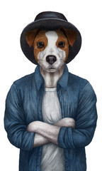 Animals dressed up in human clothing. Portrait of a Dog Boy. Hand-drawn illustration of Jack Russell, digitally colored.