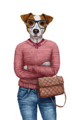 Animals dressed up in human clothing. Portrait of a Dog Girl. Hand-drawn illustration of Jack Russell, digitally colored.