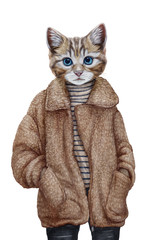 Animals dressed up in human clothing. Portrait of a Cat Girl. Hand-drawn illustration, digitally colored.