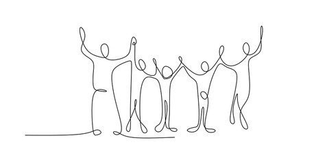 Continuous family line drawings holding hands each other and raising. Success concept theme design.